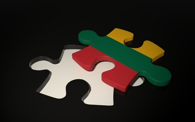 Lithuanian Flag Puzzle Piece - Flag of Lithuania.