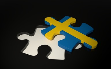 Swedish Flag Puzzle Piece - Flag of Sweden.