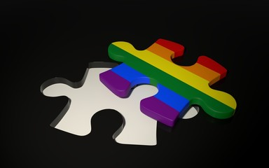 LGBT Flag Puzzle Piece on the dark background