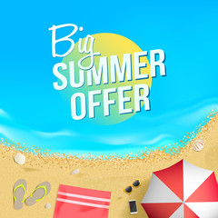 Big Summer Offer Label Beach Illustration
