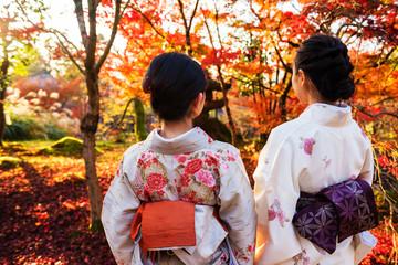 Japanese Kimono girls in Eikando, Kyoto