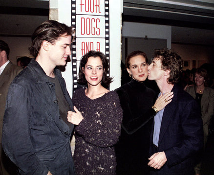 """The stars of the play """"Four Dogs and A Bone"""" pose together after the premiere performance  October 1.."""