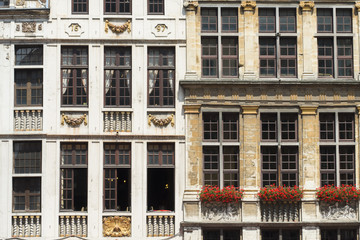 Facades in a Grote Markt in Brussels