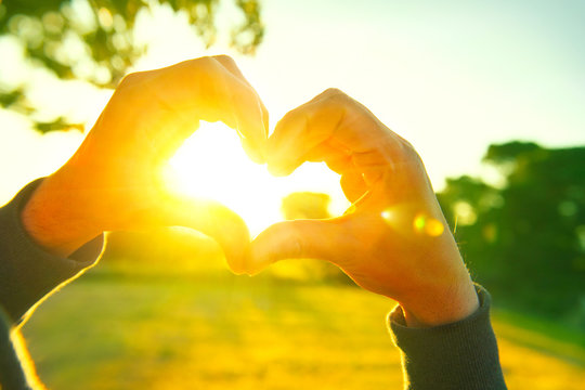 Person making heart with hands over nature sunset background. Silhouette hands in heart shape with sun inside
