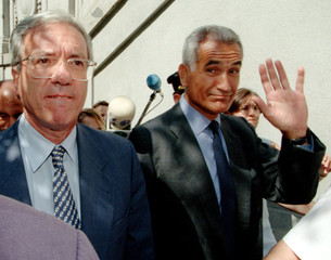 Spain's former Socialist Secretary of State for Security Rafael Vera (R) and former interior ministe..
