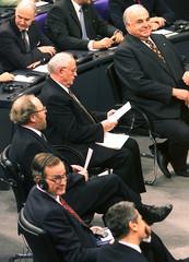 FORMER US PRESIDENT BUSH FORMER GERMAN CHANCELLOR KOHL FORMER SOVIET LEADER GORBACHEV IN BERLIN.