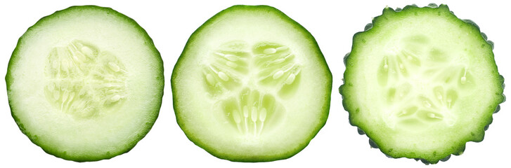 In de dag Verse groenten Three kinds of cucumbers, fresh juicy slices cucumber on a white background, isolated