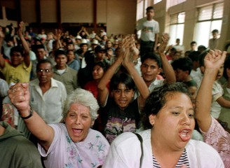 RELATIVES AND FRIENDS OF A GUATEMALAN ARMY PATROL CHEER COURT RULING.