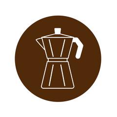 Icono plano cafetera lineal en circulo marrón