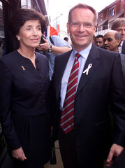 JEFFREY ARCHER AND HIS WIFE VISIT BRICK LANE IN EAST LONDON.