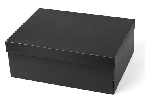 Black shoe box isolated on white background with clipping path