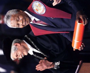 MANDELA AFTER BEING DECORATED IN PIETERS CHURCH.