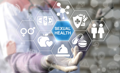 SEXUAL HEALTH - Healthcare Concept. Doctor offers icon sex healthy text on virtual screen on background of network medical icons.