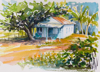 Blue bungalow and tropical garden.Picture created with watercolors