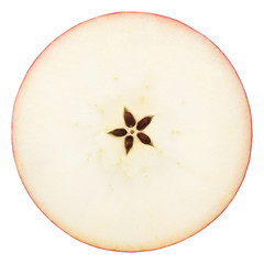 the cut apple in half, in the middle a seed, separately on a white background, clipping path