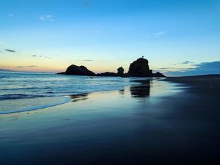 Idyllic Whatipu Beach, New Zealand - Stock Image