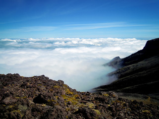Cloudscape view - Mount Taranaki - Egmont National Park, New Zealand - Stock Image