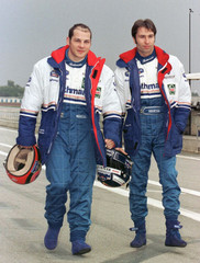Canadian formula one driver Jacques Villeneuve (L) and his new team mate, German driver Heinz-Harald..