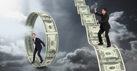 Digital composite image of businessmen standing on money