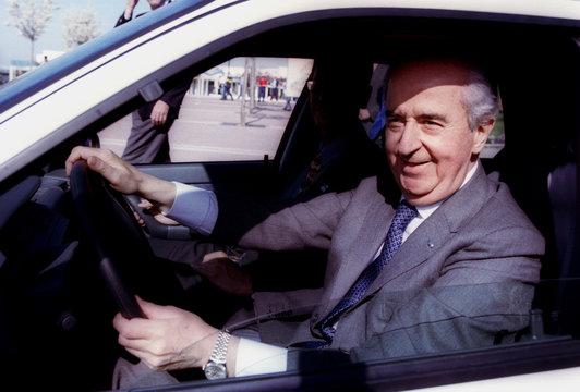 French Prime Minister and Presidential Candidate Edouard Balladur seen with a lipstick smudge after ..