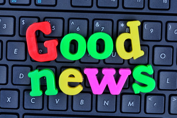 The words Good News on computer keyboard