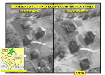 AERIAL PICTURE RELEASED BY NATO SHOWS WHAT NATO DESCRIBED AS DAMAGED BUILDING IN MITROVICA.