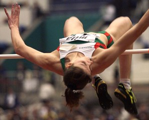 KRISTINA KALCHEVA OF BULGARIA IN ACTION DURING THE WOMEN'S HIGH JUMP AT THE WORLD INDOOR ATHLETICS ...