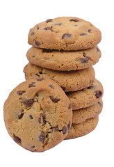 Group of chocolate chip biscuits on white background