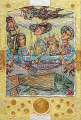 Foto op Aluminium Imagination Gesso hand drawn illustration with girls in a boat and fish on a yellow background