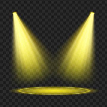 yellow Vector spotlight set. Light effect. vector Illustration