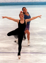 US figure skaters Tonya Harding (foreground) and Nancy Kerrigan practice together at the 1994 Winter..