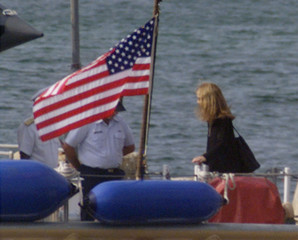 CAROLINE KENNEDY ARRIVES FOR HER BROTHERS BURIAL AT SEA.