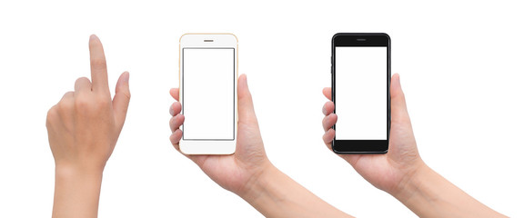 Close-up image of two human hand holding black and white blank screen smartphone with hand in touching gesture isolate on white background with clipping path Wall mural