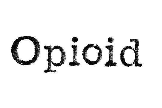 """The word """"Drug Addict"""" from a typewriter on a white background"""