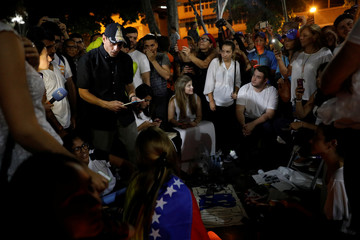 Venezuela opposition leader and Governor of Miranda state Henrique Capriles attends a vigil in homage to victims of violence during the protest against Venezuela's President Nicolas Maduro's government in Caracas