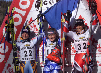 TOP THREE FINISHERS ON PODIUM IN WOMENS WORLD CUP GIANT SLALOM.