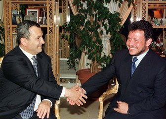 KING ABDULLAH AND ISRAELI PM BARAK IN AQABA.