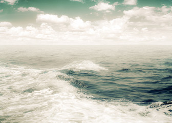 Vintage abstract nature background. surf of water foam from boat in ocean. vintage color effect tone.