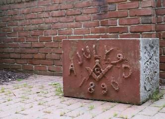 Old Masonic Cornerstone