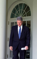 PRESIDENT CLINTON ENTERS THE ROSE GARDEN TO MAKE A STATEMENT ABOUT GUNS.