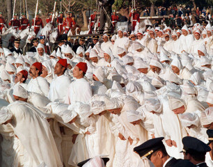 About 9,000 representatives of the 67 Moroccan provinces pay allegiance to King Hassan in a ceremony..