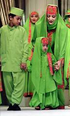 """Indonesian child models join a fashion show on """"Moslem dress Trends '94 """" in Jakarta on January 27. .."""