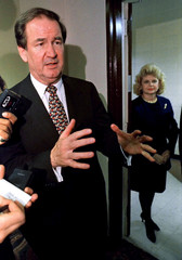Republican Presidential candidate Pat Buchanan speaks to the media about his defeat by rival Steve F..