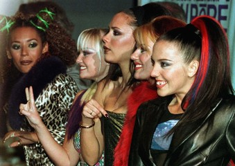 British pop group the Spice Girls (L-R) Mel B, Emma, Victoria, Gery and Mel C pose for a picture upo..