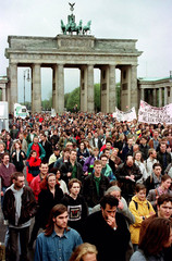 Around 20,000 students from Berlin universities walk through the Brandenburg Gate during a peaceful ..