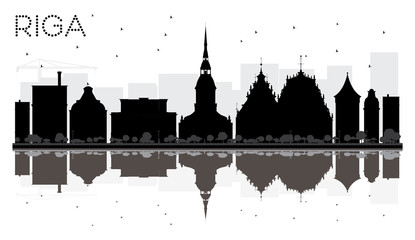 Riga City skyline black and white silhouette with reflections.
