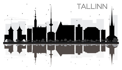 Tallinn City skyline black and white silhouette with reflections.