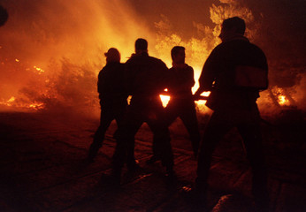 Local volunteers fight with the flames of a huge forest fire raging out of control in the outskirts ..