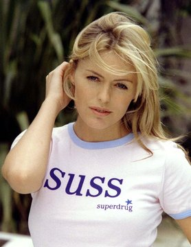 Actress Patsy Kensit poses in a special T-shirt to promote an anti-cancer skincare product at The Ke..