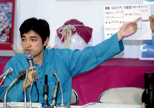 Fumihiro Joyu, chief spokesman of the Aum Shinrikyo Sect, points at a flow chart of agricultural che..